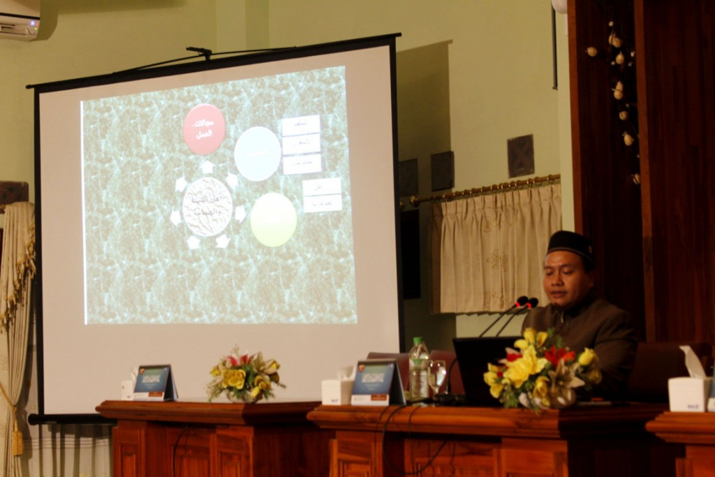 Fahmi Salim, M.A sedang menyampaikan presentasinya