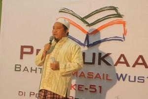 Ramah: Ust. H. A. Saifullah Naji, Sekretaris Umum Pondok Pesantren Sidogiri menyampaikan sambutan dalam acara BMW ke 51
