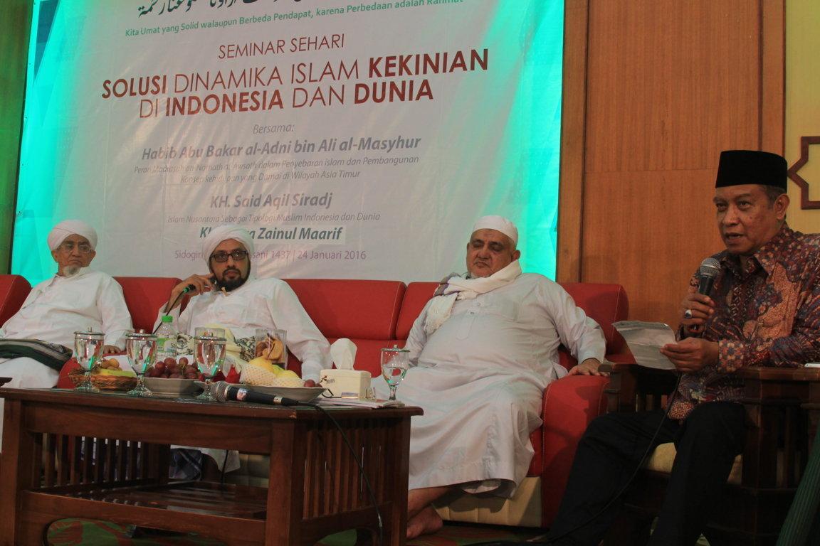 Ketua PBNU, Kiai SAid Aqil Sirajd menyampaikan penjelasan terkait berbagai klarifikasi para Kiai dan Habaib