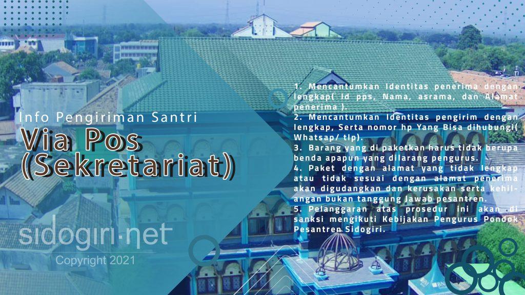 Info Pengiriman Santri Via Pos Sekretariat